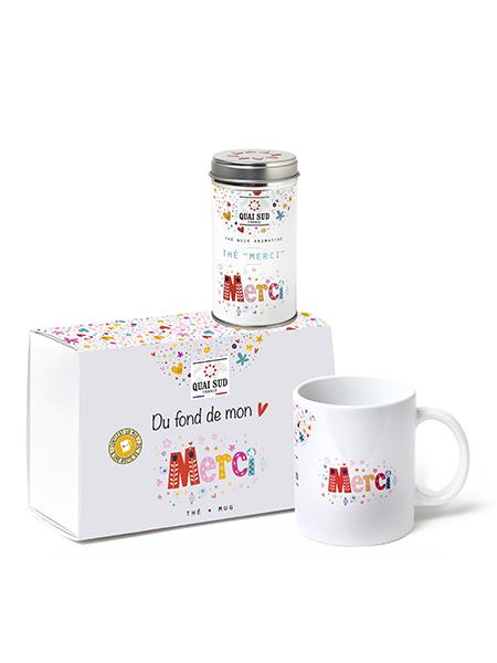 Coffret thé Merci boite pop et mug Quai Sud