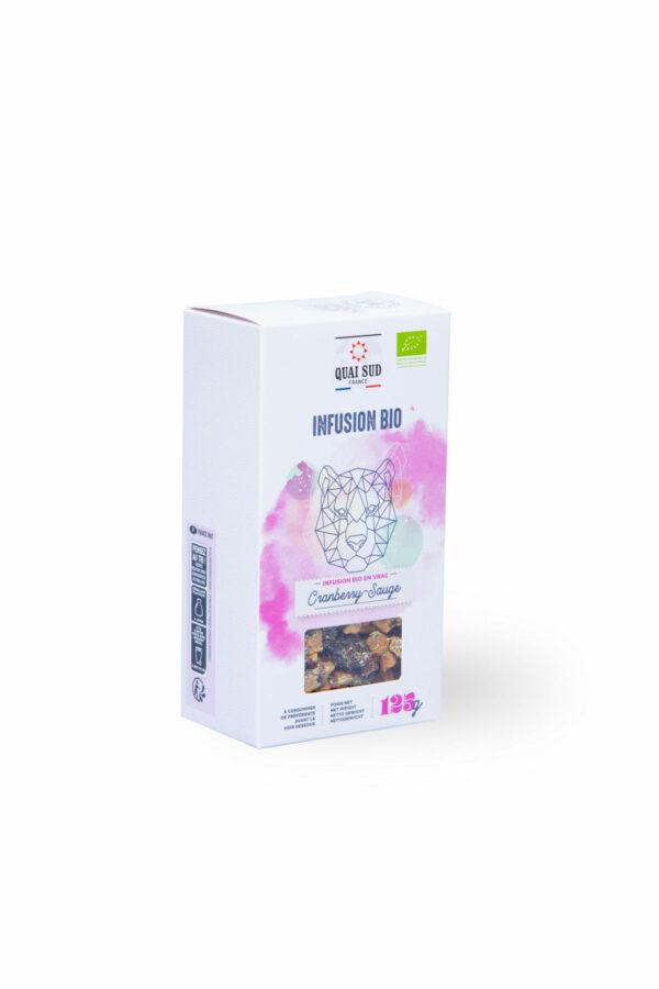 Infusion bio cranberry et sauge Quai Sud boite carton