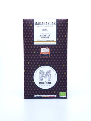tablette de chocolat lacté 55% praliné madagascar millésime quai sud