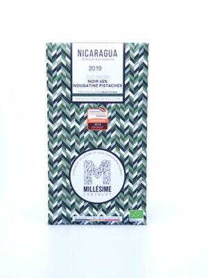 tablette chocolat noir 65% nougatine pistache du nicaragua 2019 millésime