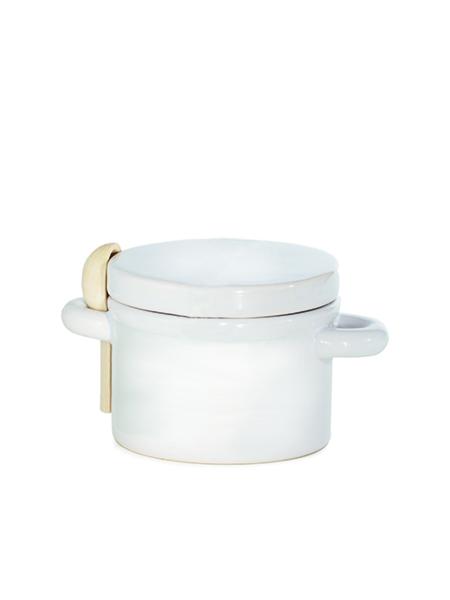 pot à sel ou poivre en céramique cuillère en bois