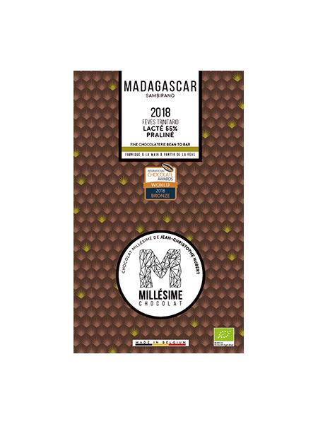 MILLESIME MADAGASCAR BIO Tablette de chocolat au lait bio 55% Praliné Noisettes Amandes-0