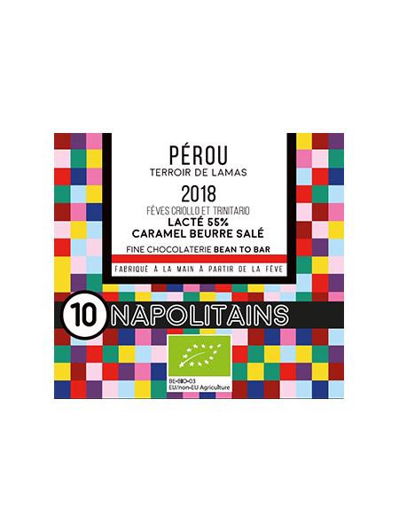 BOITE DE 10 NAPOLITAINS BIO* DU PEROU LAIT 55% CARAMEL BEURRE SALE-0