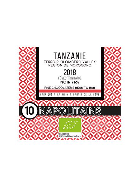 BOITE DE 10 NAPOLITAINS BIO* DE TANZANIE NOIR 76%-0