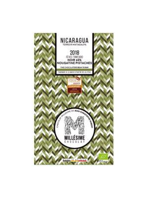 MILLESIME NICARAGUA Bio-Bitterschokolade Tafel 65% Nougatine Pistazien-0