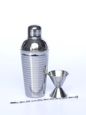 SET COCKTAILS EN INOX (shaker, mélangeur, doseur) -0