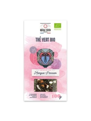 THÉ VERT BIO AROMATISÉ MANGUE - PASSION Boîte Carton 100 g-0